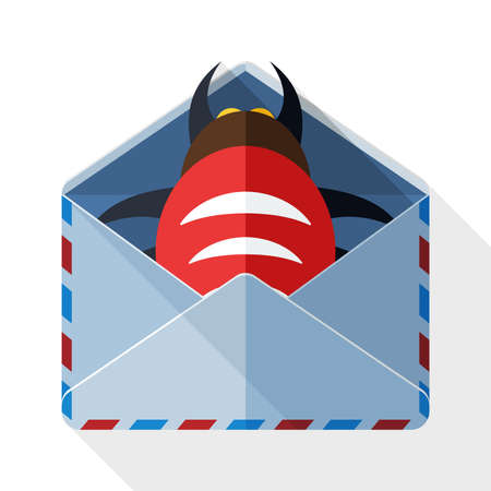 hack: Infected email icon with long shadow on white background Illustration