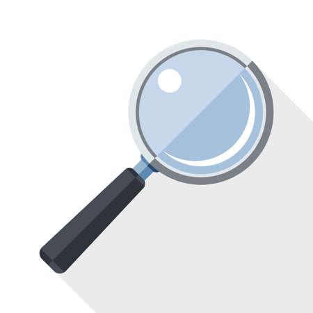 magnifying glass icon: Magnifying glass icon with long shadow on white background Illustration