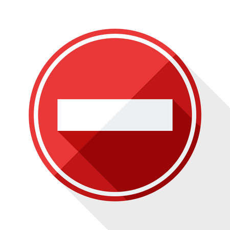 No entry traffic sign with long shadow on white background Illustration