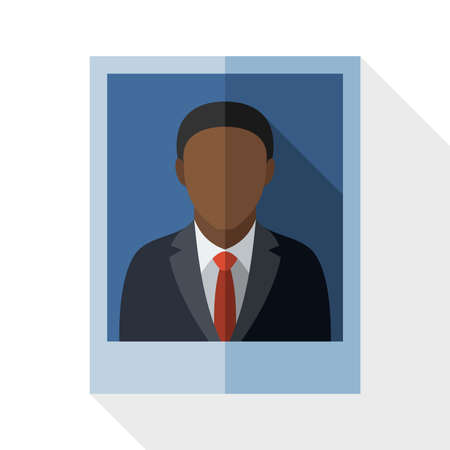 boy long hair: Picture of a black man in a business suit with long shadow on white background
