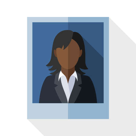 black woman: Picture of a black woman in a business suit with long shadow on white background Illustration