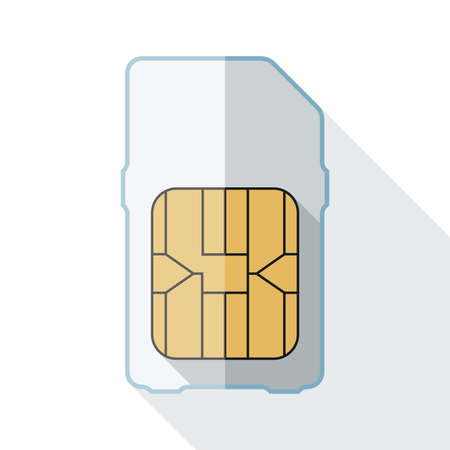 gsm phone: Sim card icon with long shadow on white background
