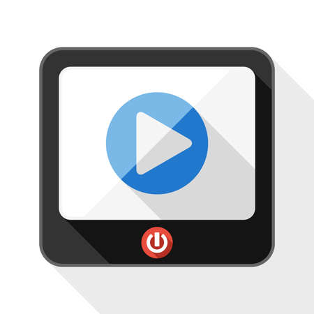 telecast: TV flat icon with play button and long shadow on white background