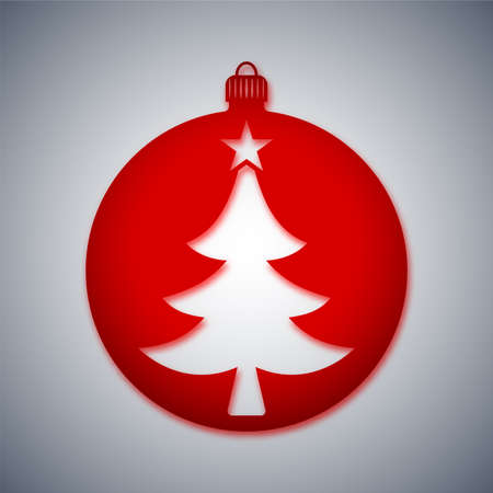 red and white: Christmas Ball Icon, Vector Illustration