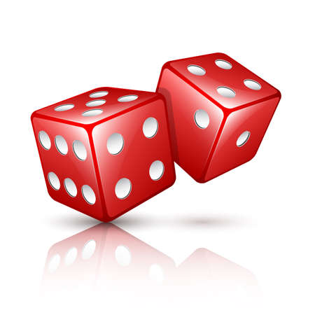 backgammon: Two red vector dices Illustration