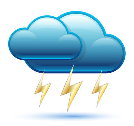 gale: Glossy Cloud Icon with Lightning. Vector Illustration
