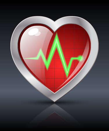 diagnostics: Heart diagnostics icon. Vector