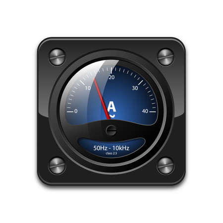 electrical engineer: Vector ammeter icon Illustration