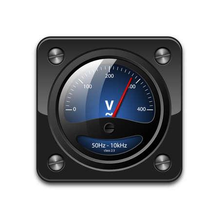 ingeniero electrico: Vector icono voltímetro Vectores