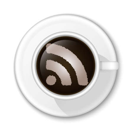 rss icon: Coffee RSS Icon. Vector