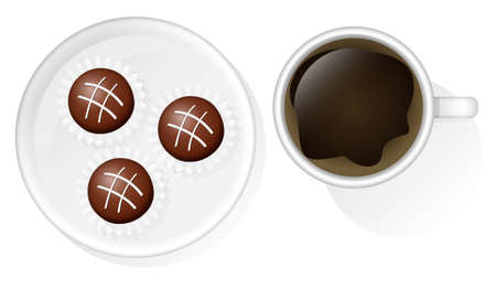 luncheon: Cup of coffee and three chocolates on a saucer. Vector illustration