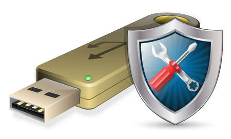 usb flash drive: Data Recovery Icon - USB Flash Drive with Shield. Vector illustration Illustration