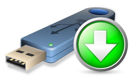 usb flash drive: Vector USB Flash drive with DOWNLOAD sign