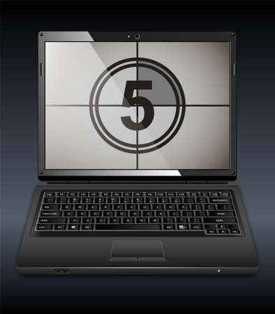 laptop screen: Vector laptop with countdown on the screen