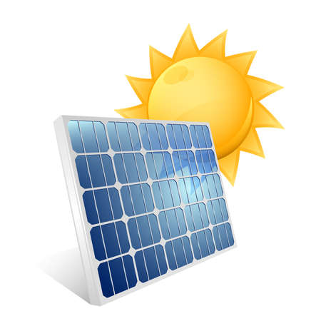 태양 전지 패널의 아이콘입니다. 벡터 일러스트