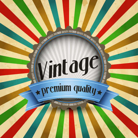 sunbeams: Vintage design template with badge and sunbeams