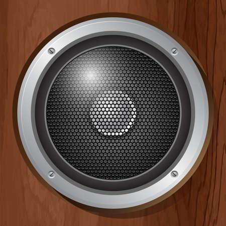 audio speaker: Audio speaker in a wooden plate. Vector