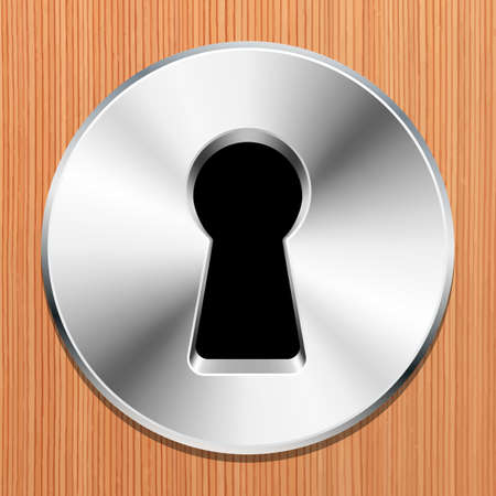 furtively: Keyhole in a wooden door