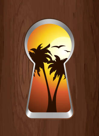 snooping: Sunset on the sea and palm trees are seen through the keyhole. Vector illustration