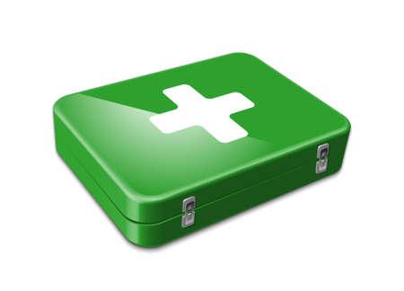 Icono verde de primeros auxilios. Ilustración vectorial Vectores