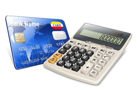 teclado num�rico: tarjeta de cr�dito y calculadora aislados sobre fondo blanco Vectores