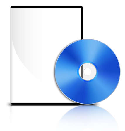 dvd case: DVD case with a blank cover and shiny blue DVD disk, Vector