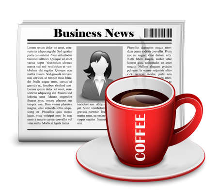 business words: Newspaper with cup of coffee. Vector Illustration Illustration