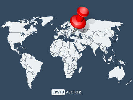 push pin: World map with red push pin