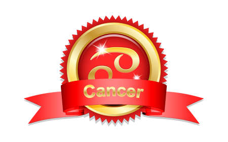 cancer zodiac: Cancer zodiac sign with red ribbon. Vector