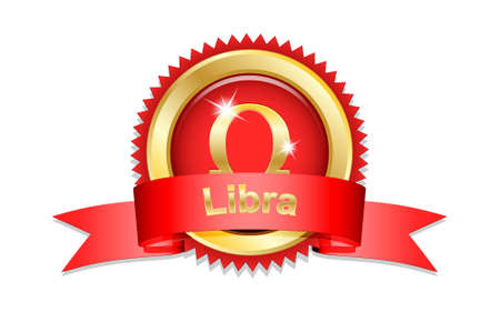 prophecy: Libra zodiac sign with red ribbon. Vector