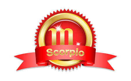red sign: Scorpio zodiac sign with red ribbon. Vector