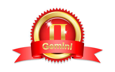 gemini zodiac: Gemini zodiac sign with red ribbon. Vector