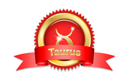 prophecy: Taurus zodiac sign with red ribbon. Vector