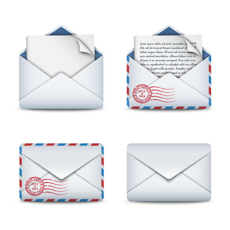 E-mail icons concept, vector illustration Çizim