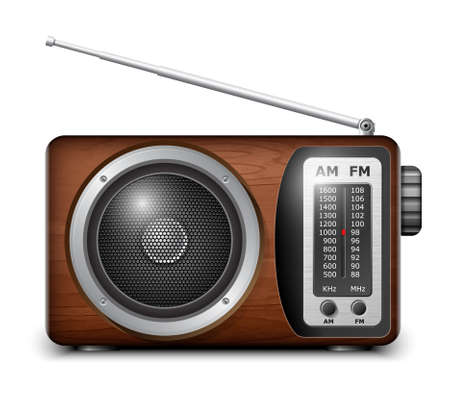 fm radio: Retro radio, vector Illustration