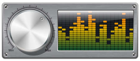 volume knob: Vector volume knob with digital equalizer Illustration