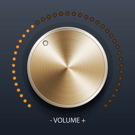 volume knob: Volume knob with gold texture, stock vector