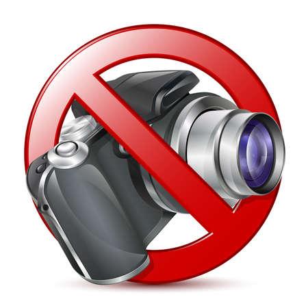 telephoto: No photography sign. Vector
