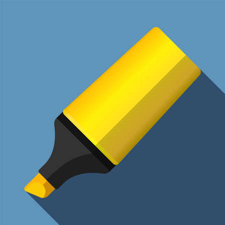 highlighter: Flat highlighter icon with long shadow Illustration