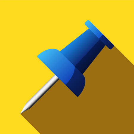 push pin icon: Flat push pin icon with long shadow