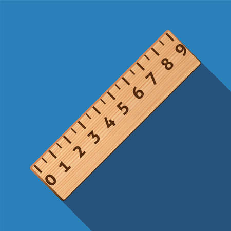 millimetre: Flat ruler icon with long shadow Illustration