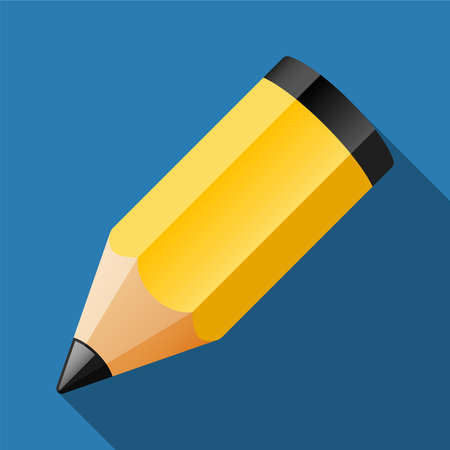 Vector pencil icon with long shadow