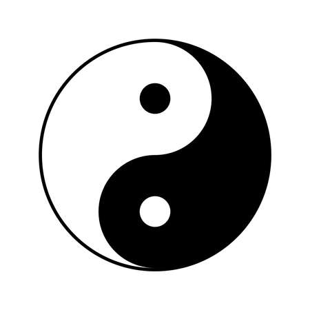 Yin and yang symbol, vector illustration Çizim