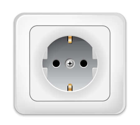 electrical outlet: Power Outlet Icon. Realistic vector illustration Illustration