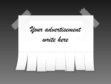 slips: Blank advertisement with cut slips. Vector illustration Illustration