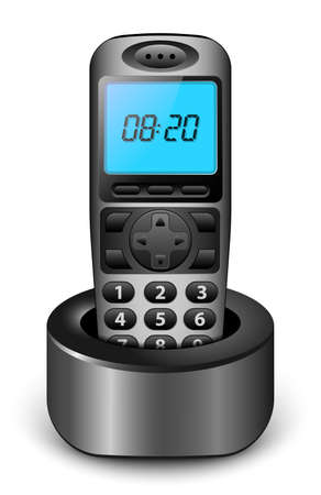 cordless phone: Modern wireless phone with clock on the screen. Vector illustration