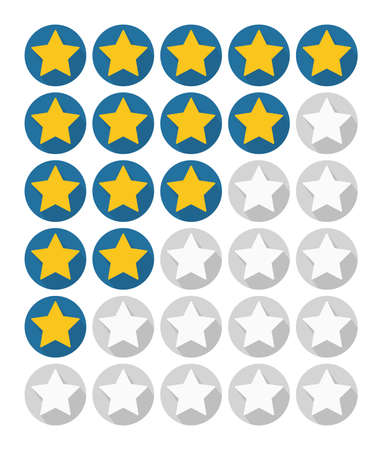 inactive: Rating stars on white background