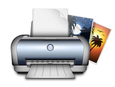 inkjet printer: Printer and printed photos. Vector Illustration Illustration
