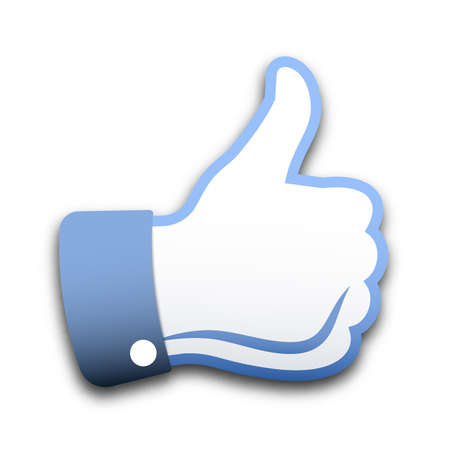 Thumbs up op een witte achtergrond, vector illustratie Stock Illustratie
