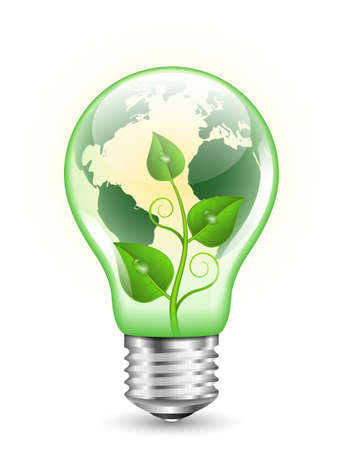green light bulb: Green light bulb with Earth map and green plant inside it
